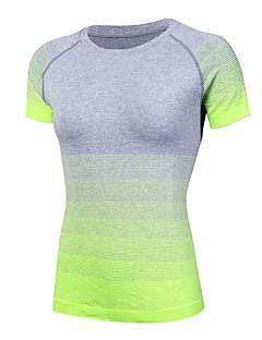 baratos -Mulheres Camiseta de Corrida Manga Curta Secagem Rápida Respirável Confortável Compressão Redutor de Suor Camiseta Roupas de Compressão