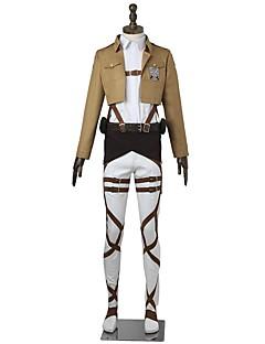 """Inspirert av Attack on Titan Mikasa Ackermann Anime  """"Cosplay-kostymer"""" Cosplay Klær Ensfarget Langermet Topp Bukser Forkle Belte Mer"""