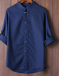 Men's Casual/Daily Simple Shirt,Solid Button Down Collar Long Sleeves Polyester