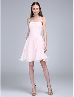 cheap Short Bridesmaid Dresses-A-Line Spaghetti Straps Knee Length Chiffon Bridesmaid Dress with Ruched by LAN TING BRIDE®