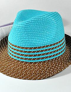 billige Trendy hatter-Unisex Vintage Søtt Fest Kontor Fritid Stråhatt Solhatt Stripet