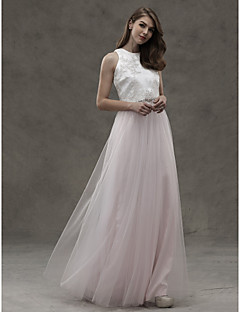 cheap Romance Blush-A-Line Jewel Neck Floor Length Satin Tulle Bridesmaid Dress with Appliques by LAN TING BRIDE®
