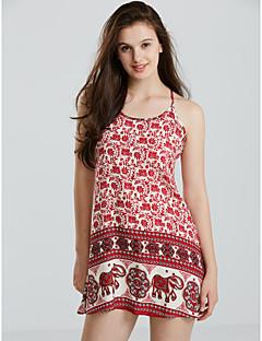 Χαμηλού Κόστους Print Dresses-Γυναικεία Σε γραμμή Α Φόρεμα Στάμπα Μίνι Τιράντες