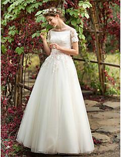 A-linje Bateau Neck Gulvlang Tyll Bryllupskjole med Perlearbeid Appliqué Blomst av LAN TING BRIDE®