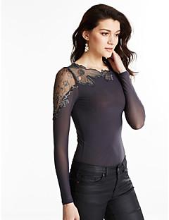 Feminino Camiseta Informal / Casual Simples Outono,Sólido Preto / Cinza Poliéster Assimétrico Manga Longa Média