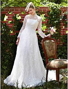 A-Linie Illusion Neckline Velmi dlouhá vlečka Krajka Svatební šaty s Krajka podle LAN TING BRIDE®