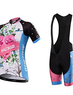 billige Sykkelklær-Malciklo Dame Kortermet Sykkeljersey med bib-shorts Britisk Sykkel Klessett, Fort Tørring, Anatomisk design, Pustende, Svettereduserende,