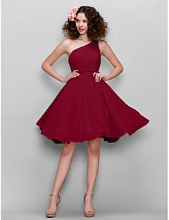 billige Romantisk rosa-A-linje Enskuldret Knelang Chiffon Brudepikekjole med Sidedrapering av LAN TING BRIDE®