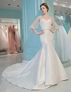 Mermaid / Trumpet Illusion Neckline Chapel Train Lace Satin Tulle Wedding Dress with Lace by QZ