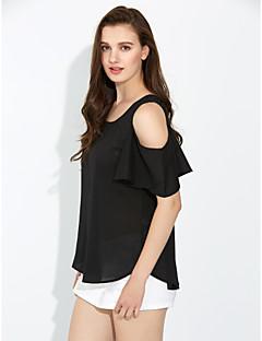 billige Overdele til damer-Dame - Ensfarvet, Krøllede Folder Bluse Polyester