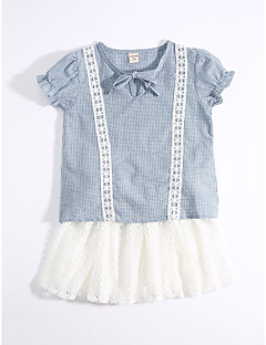 cheap Kids' New Ins-Girls' Daily Plaid Clothing Set,Cotton Summer Light Blue