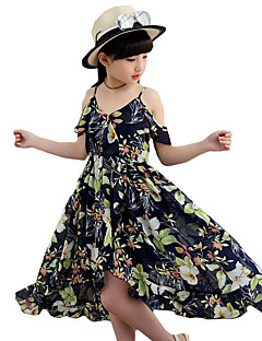 Girl's Floral Dress,Polyester Summer Sleeveless Floral Navy Blue