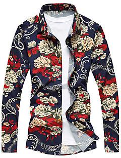 billige Herremote og klær-Bomull Rayon Tynn Langermet,Skjortekrage Skjorte Stripet Blomstret Galakse Sommer Fritid Aktiv Daglig Strand Herre