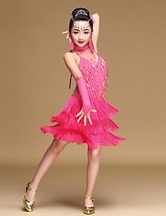 cheap Kids' Dancewear-Latin Dance Dresses Children's Performance Spandex Milk Fiber Beading Sequin Crystals/Rhinestones Tassel Sleeveless Natural Dress Gloves