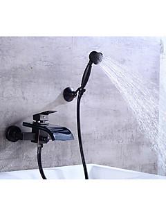 baratos Cascata-Torneira de Banheira - Moderna Bronze Polido a Óleo Conjunto Central Válvula Cerâmica