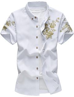 メンズ カジュアル/普段着 ビーチ 夏 シャツ,シンプル 活発的 シャツカラー ストライプ ギャラクシー コットン レーヨン 半袖 薄手