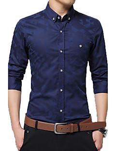 Bomull Polyester Medium Langermet,Skjortekrage Skjorte Lapper Jacquardvevnad Alle sesonger Enkel Fritid/hverdag Arbeid Herre