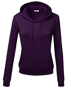 Women's Casual/Daily Hoodie Solid Round Neck strenchy Cotton Long Sleeve