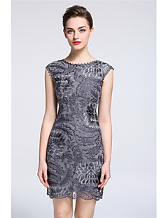 hesapli MARCOBOR-Kadın Günlük/Sade Dışarı Çıkma Kılıf Elbise Nakışlı,Kolsuz Yuvarlak Yaka Diz üstü Polyester Bahar Yaz Normal Bel Esnemez Orta