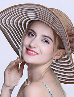 Χαμηλού Κόστους Breezy & Chic Straw Hats-Γυναικεία Ριγέ, Βίντατζ Βαμβάκι Καπέλο ηλίου
