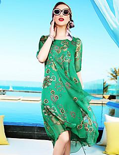 Χαμηλού Κόστους YENMEINAR-Γυναικεία Εκλεπτυσμένο Γραμμή Α Φαρδιά Φόρεμα - Φλοράλ Ως το Γόνατο