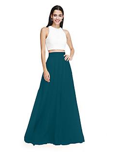 billige Mønstrede og ensfargede kjoler-A-linje / Todelt Besmykket Gulvlang Tyll med blondeoverlegg Brudepikekjole med Belte / bånd / Bølgemønster av LAN TING BRIDE® / To deler / Fargeblokk