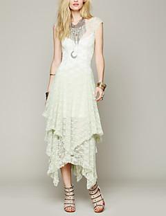 billige AW 18 Trends-Dame Ut på byen Løstsittende Kjole - Ensfarget Stroppeløs Asymmetrisk Hvit