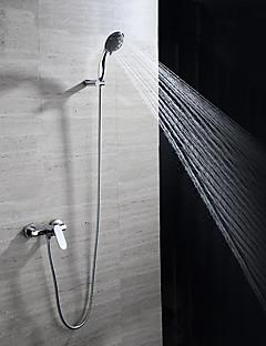 baratos Spray Lateral-Torneira de Banheira - Moderna Cromado Montagem de Parede Válvula Cerâmica / Latão / Monocomando Três Buracos