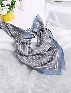 Women's Nylon Silk Scarf Cute Work Casual Square 70*70 Striped Print Brown/Grey