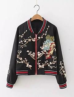 Damen Blumen Street Schick Lässig/Alltäglich Jacke,Ständer Frühling Herbst Lange Ärmel Standard Nylon Others Niete