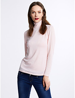 Women's Casual/Daily Sexy Fall / Winter T-shirt,Solid Round Neck Long Sleeve Pink / Black / Gray Cotton Medium