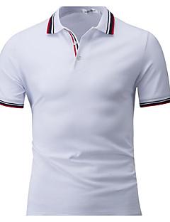 Χαμηλού Κόστους Hot White Summer-Ανδρικά T-shirt Βαμβάκι Μονόχρωμο Κολάρο Πουκαμίσου