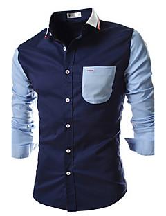 billige Herremote og klær-Bomull Tynn Skjorte - Fargeblokk Hundetannmønster Helg Herre