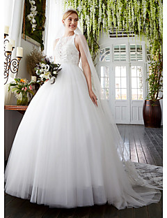 A Line Bateau Neck Sweep Brush Train Lace Tulle Wedding Dress With Beading Appliques By LAN TING BRIDER