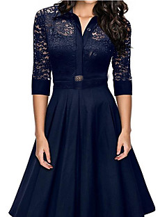 Women's Casual/Daily Simple A Line Lace Dress,Solid Shirt Collar Half Sleeves Summer Mid Rise