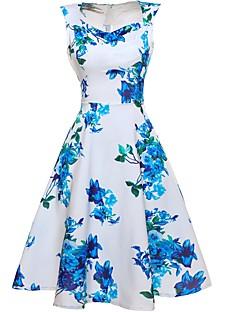 Hüvely Swing Ruha Női Vintage Casual/hétköznapi Tengerpart Szabadság,Virágos V-alakú Térdig érő Ujjatlan Pamut Poliészter NyáriMagas