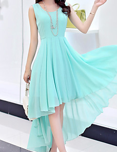 Women's Party Going out Casual/Daily Sexy Boho Sophisticated Sheath Swing Dress,Solid Round Neck Asymmetrical Sleeveless OthersSpring