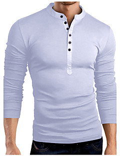 Men's Birthday Casual Simple Spring Fall T-shirt,Solid Stand Long Sleeve Cotton Blend 30D