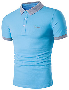 Men's Casual/Daily Simple Polo,Solid Shirt Collar Short Sleeves Cotton Polyester