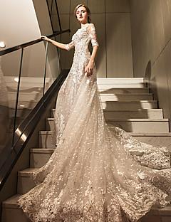 billiga Brudklänningar-A-linje Scoop Neck Katedralsläp Spets på tyll Bröllopsklänningar tillverkade med Kristall / Bård / Applikationsbroderi av LAN TING Express