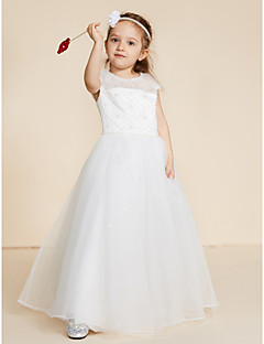 cheap Communion Dresses-Ball Gown Floor Length Flower Girl Dress - Lace Tulle Sleeveless Jewel Neck with Beading Lace by LAN TING BRIDE®