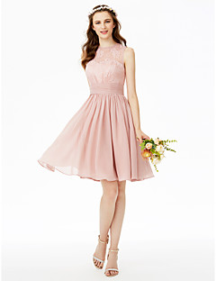 cheap Romance Blush-A-Line Jewel Neck Knee Length Chiffon Sheer Lace Bridesmaid Dress with Lace Sash / Ribbon Pleats Ruched by LAN TING BRIDE®