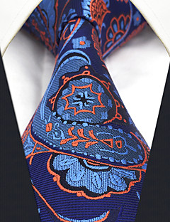 CS13 Handmade New For Mens Ties Classic Blue Orange Abstract 100% Silk Fashion Dress Unique Casual