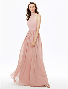 cheap Romance Blush-Sheath / Column High Neck Floor Length Chiffon Sheer Lace Bridesmaid Dress with Lace Sash / Ribbon Pleats by LAN TING BRIDE®