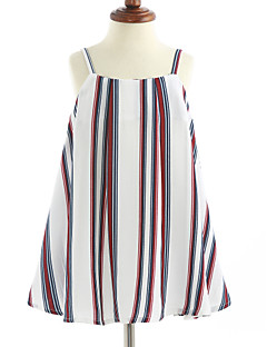 cheap Kids' New Ins-Girl's Stripe Dress, Cotton Sleeveless Stripes White