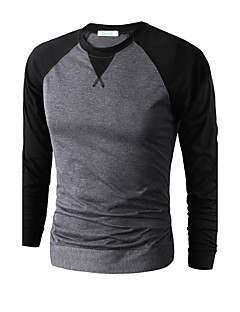 Men's Sports Casual/Daily Going out Simple Punk & Gothic Spring Fall T-shirt,Solid Color Block Round Neck Long Sleeves Cotton Modal Thin