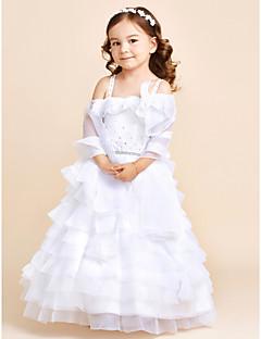 tanie Ubiór ślubny dla dzieci-Sukienka kwiatowa sukienka księżniczki - pasek kwiatowy z organzy