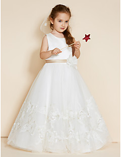 cheap Communion Dresses-A-Line Floor Length Flower Girl Dress - Lace Satin Sleeveless Jewel Neck with Appliques Sashes / Ribbons Flower by LAN TING BRIDE®