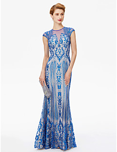 Sheath / Column Jewel Neck Floor Length Lace Mother of the Bride Dress with Sequins by LAN TING BRIDE®