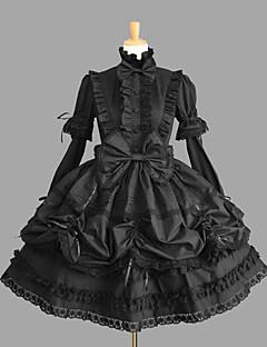 billiga Lolitaklänningar-Gotisk Lolita Klassisk/Traditionell Lolita Prinsessa Punk Dam Flickor Klänningar Cosplay Svart Holk Kortärmad Kort / mini